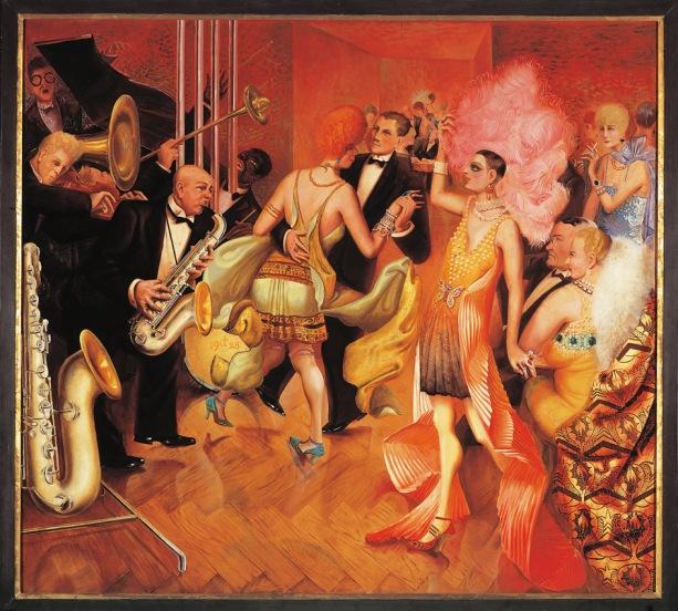 """""""La grande ville"""" La bourgeoisie allemande dansant lors d'un bal mondain sous la Republique de Weimar. Panneau central de triptyque d'Otto Dix (1891-1969) 1928 Galerie der Stadt, Stuttgart ©ADAGP (Tel: + 33 01 43 59 09 79) ©DeAgostini/Leemage"""